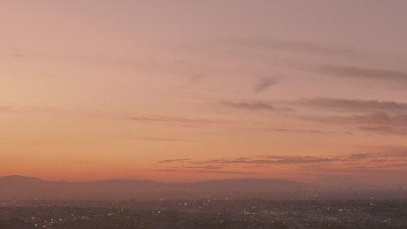 City lights at sunset