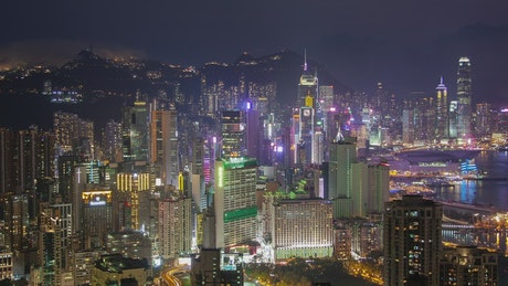 City lights of the futuristic city of Hong Kong