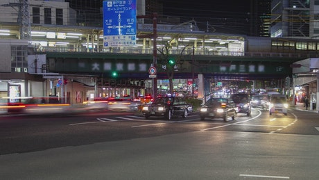 City traffic and train station in japan