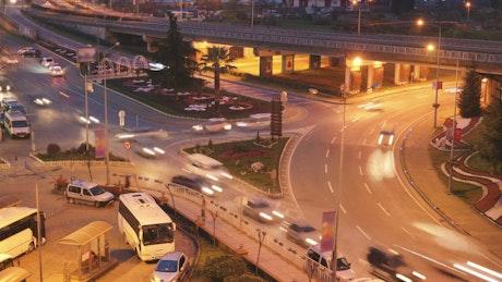 City traffic junction at night