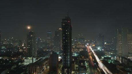 City traffic through the night