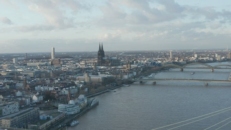 City with a cathedral and a river, aerial view