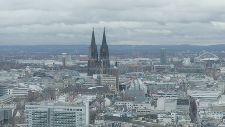 City with a cathedral that stands out the skyline
