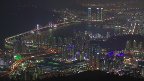 Cityscape of Busan city at night