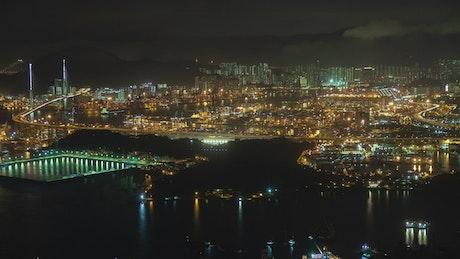 Cityscape of the city of Hong Kong at night