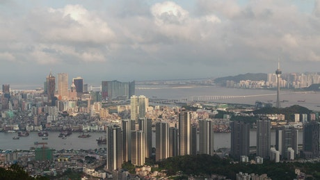 Cityscape time lapse of the Macau peninsula