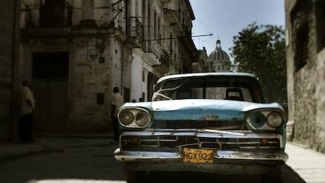 Classic car in the street at La habana