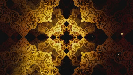 Classic golden Islamic patterns, 3D