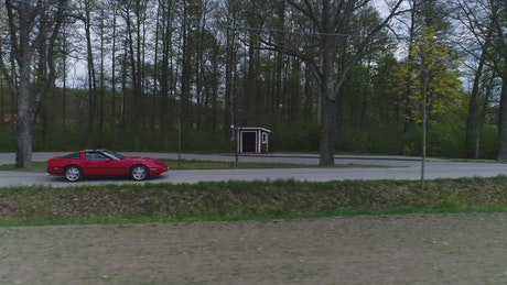 Classic red sports car