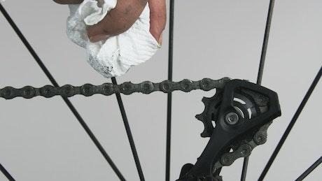 Cleaning a bike chain