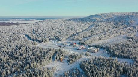 Clear sky above a Ski Resort