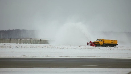 Clearing the snow in the airport tracks