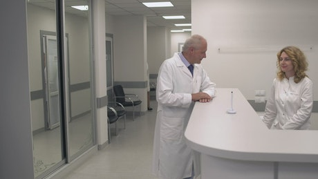 Clinic staff at a hospital reception