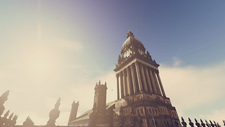 Clock tower of historic building, 3D animation