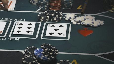 Close shot of a person winning at poker