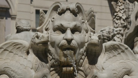 Close up of a fountain in Rome