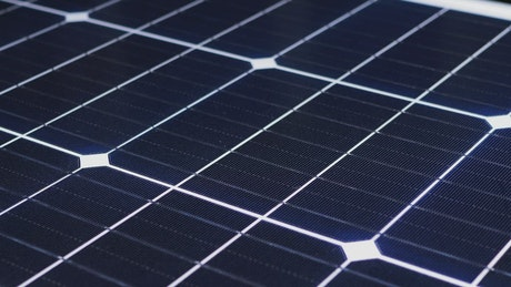 Close up of a solar panel in rotation