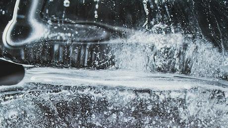 Close up of ice melting