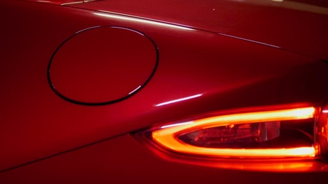 Close up of red sports car