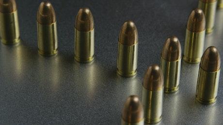Close up of rotating bullets