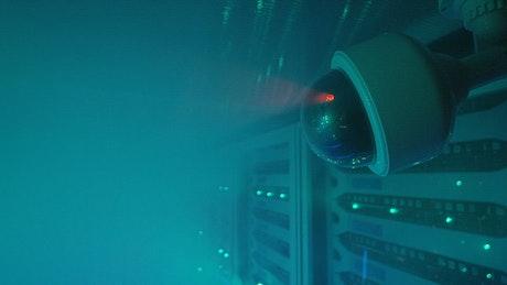 Close up of security camera and smoke