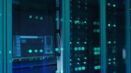 Close up of server racks lights