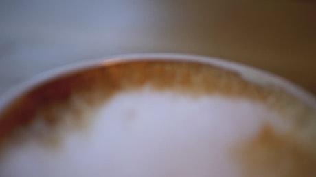 Close up of the foam in a cappuccino
