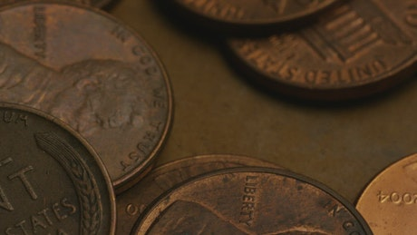 Close-up shot of American pennies