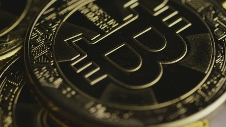 Close-up shot of the stack of bitcoins