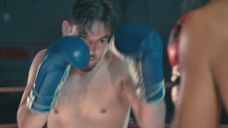 Close up to a boxing match