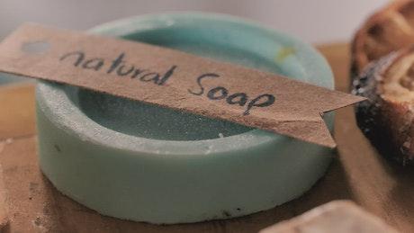 Close up to handmade soaps