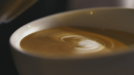 Close up view, serving a sparkling cappuccino