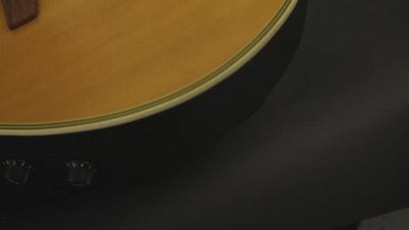 Closeup look at a guitar