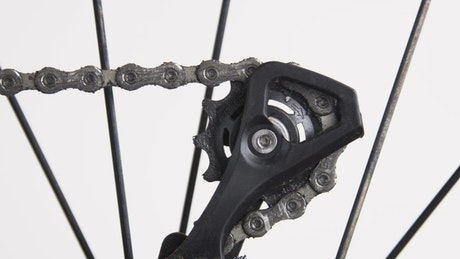 Closeup of a bicycle chain
