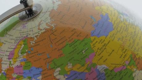 Closeup of a desk globe
