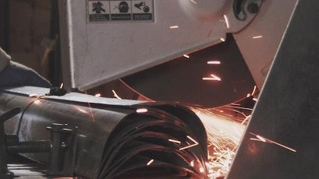 Closeup of a metal saw