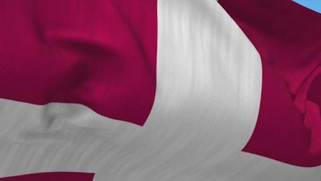 Closeup of Denmark flag waving in wind
