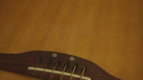 Closeup of guitar strings