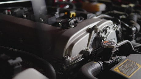Closeup of sports car engine