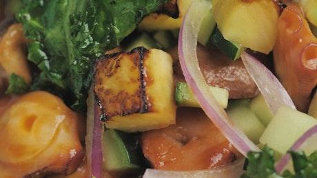Closeup to vegan-looking food