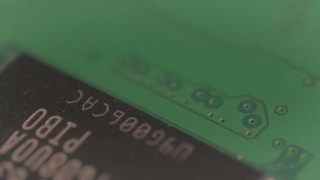 Closeup video of a hardware microchips