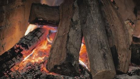 Closeup view of a fireplace