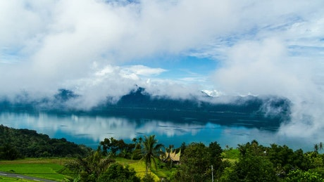 Clouds above a tropical lake