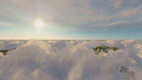 Clouds and mountains, 3D landscape
