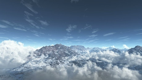 Clouds and mountains landscape