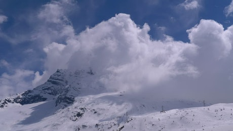 Clouds covering the mountain peaks