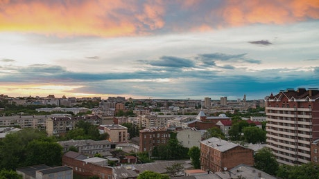 Clouds moving across the sky on Kharkov city