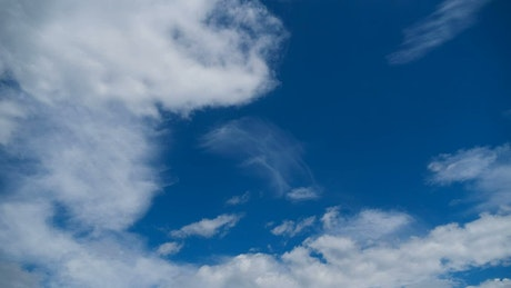 Clouds moving smoothly in the blue sky