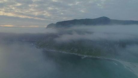 Cloudy aerial view of Hoddvika Beach in Norway