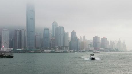 Cloudy day in Hong Kong bay